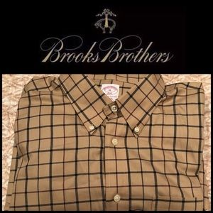 Brooks Brothers 346 Men's Plaid Shirt- Tan/Brown